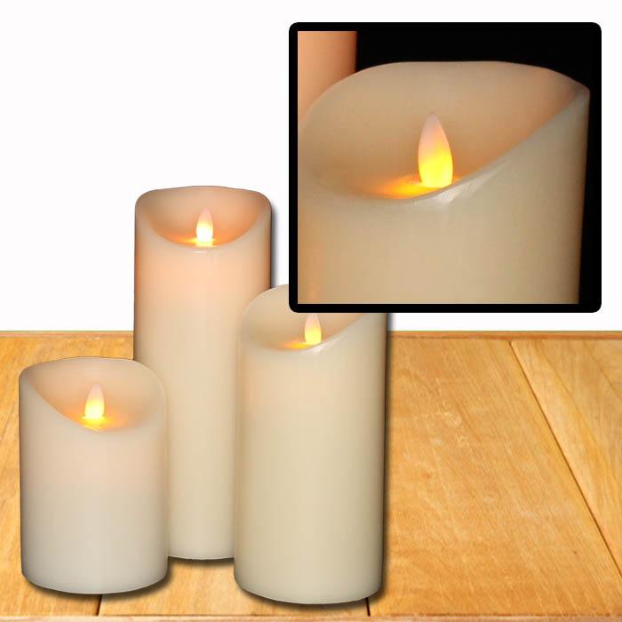 led kerze echtwachs flammenlose wachskerze timer deko kerzen wei in 3 gr en ebay. Black Bedroom Furniture Sets. Home Design Ideas